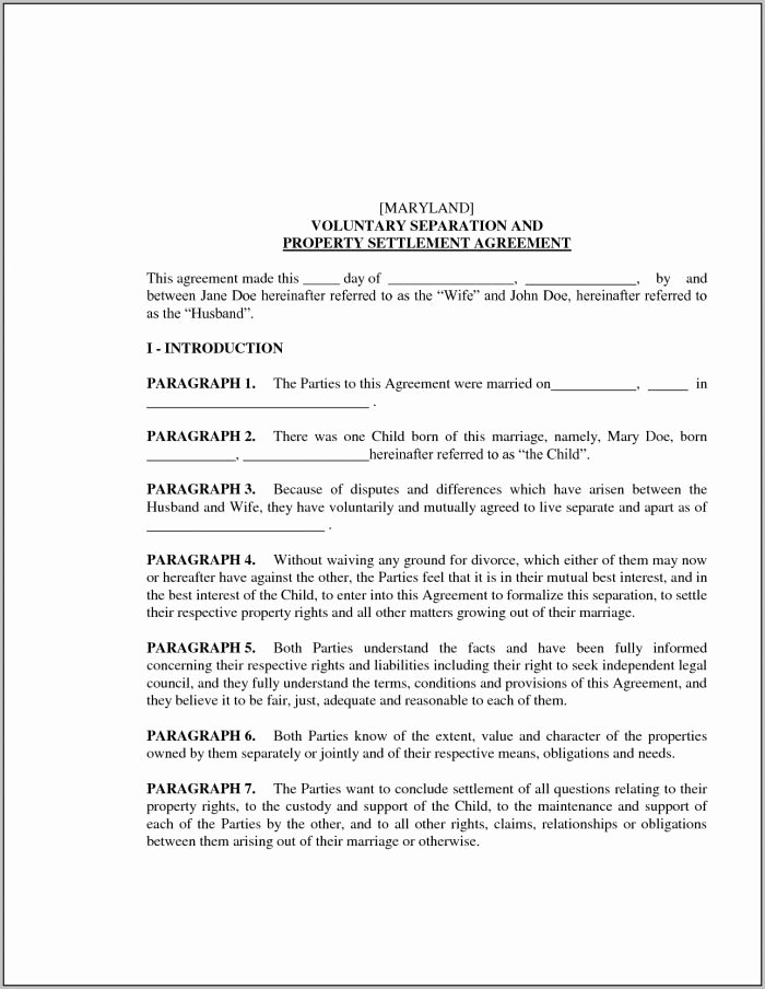 Maryland Separation Agreement Template Inspirational Marital Settlement Agreement Template Pennsylvania