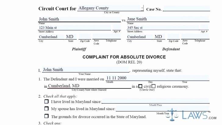 Maryland Separation Agreement Template Inspirational Maryland Divorce form Narsu Ogradysmoving