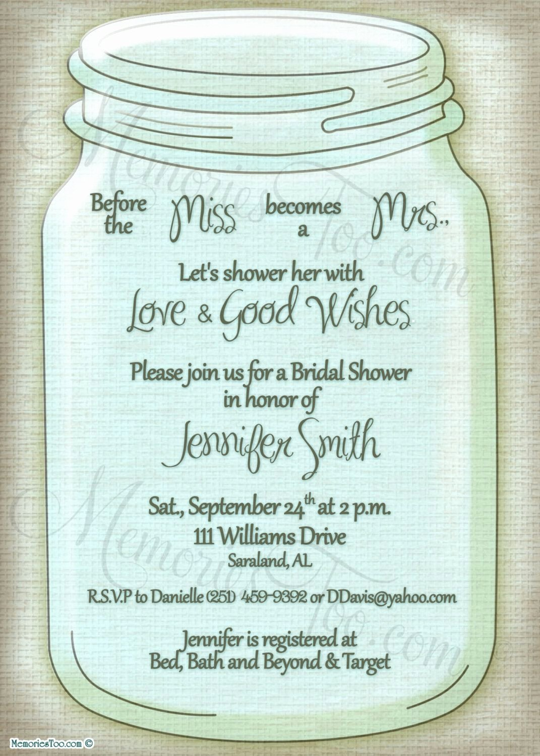 Mason Jar Invitation Template Beautiful Mason Ball Jar Invitation Diy Printable Choose Your by