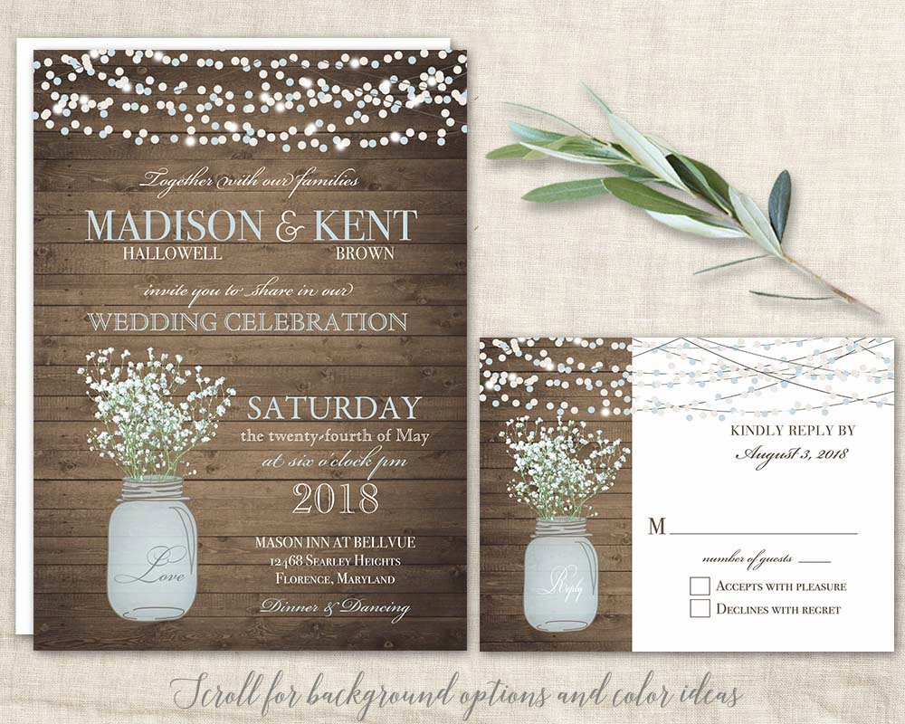 Mason Jar Invitation Template Beautiful Mason Jar Wedding Invitations Suite Rustic Country