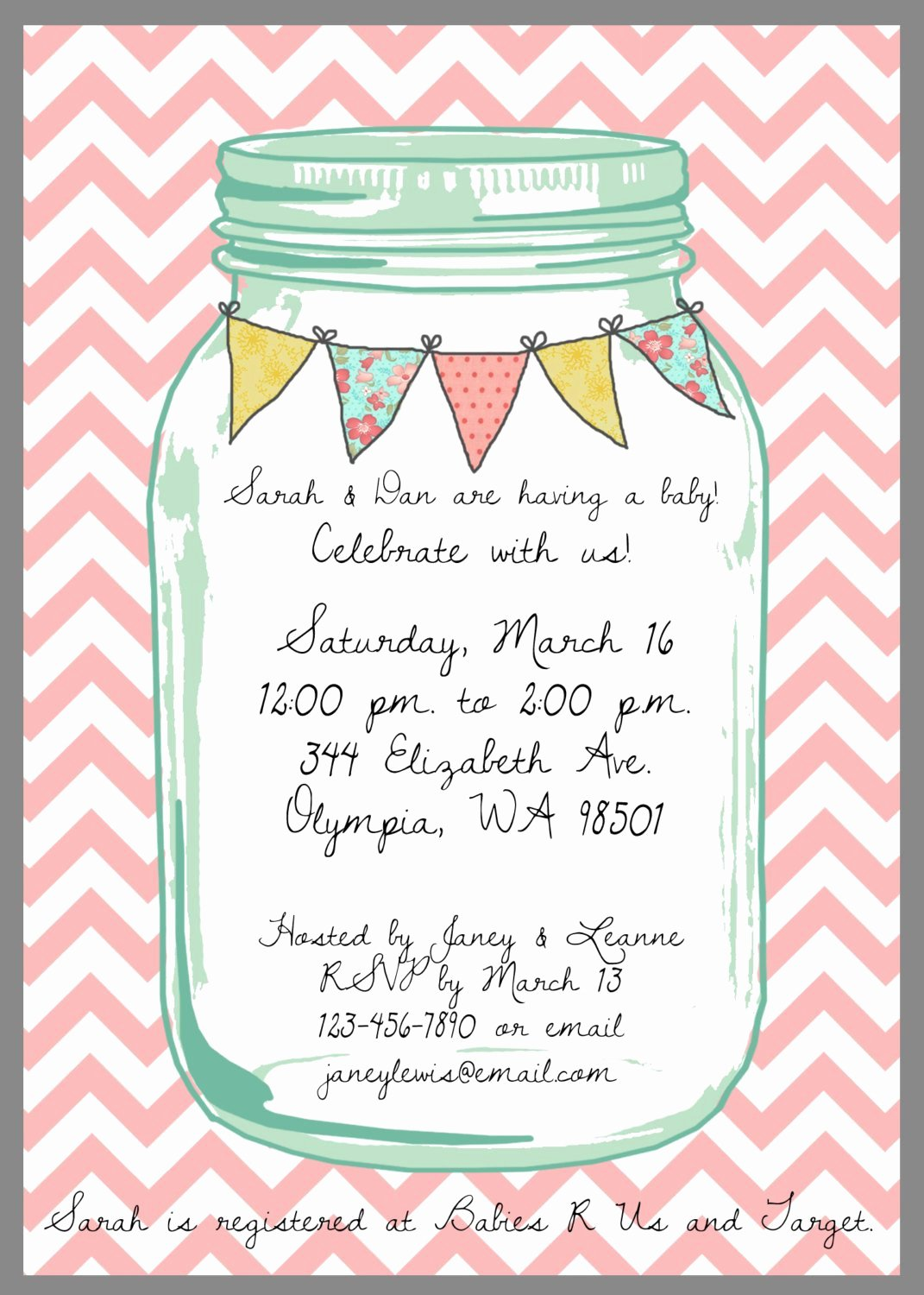 Mason Jar Invitation Template Best Of Mason Jar Baby Shower Invitation