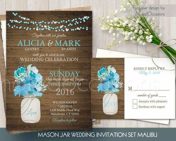 Mason Jar Invitation Template Elegant Mason Jar Wedding Invitation Set Rustic Mason by