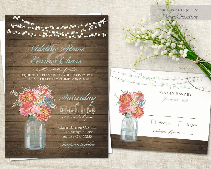 Mason Jar Invitation Template Fresh 35 Floral Wedding Templates Editable Psd Ai format