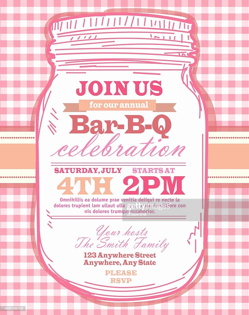 Mason Jar Invitation Template Lovely Mason Jar Bbq with Pink Tablecloth Picnic Invitation