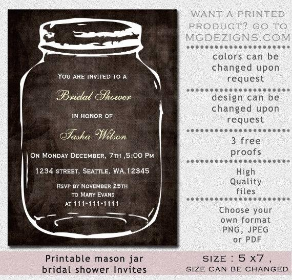 Mason Jar Invitation Template New Items Similar to Printable Bridal Shower Invitation