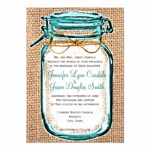 Mason Jar Invitation Template New Rustic Country Mason Jar Burlap Wedding Invitation