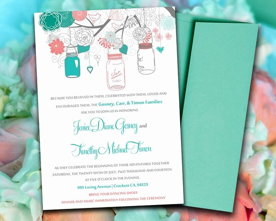 Mason Jar Invitation Template Unique Printable Wedding Invitation Template Mason by