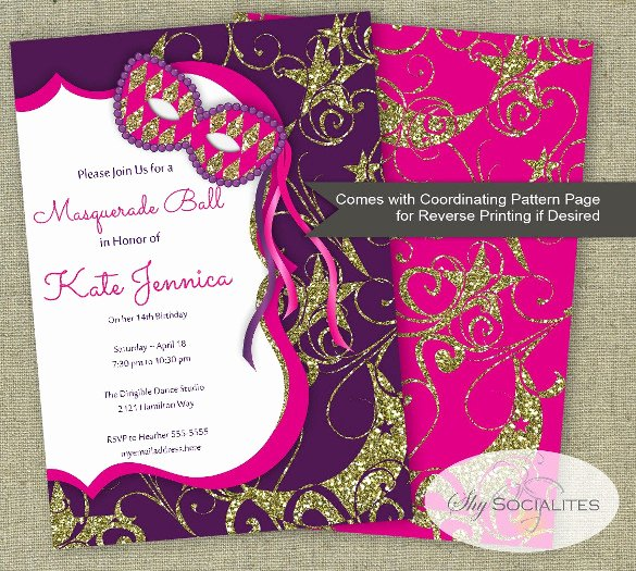 Masquerade Invitation Template Free Lovely 18 Masquerade Invitation Templates – Free Sample Example