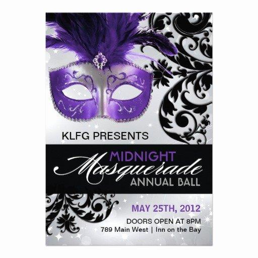 """Masquerade Invitations Template Free Elegant Masquerade Ball Invitation 5"""" X 7"""" Invitation Card"""