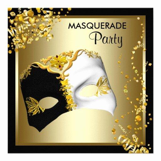 """Masquerade Invitations Template Free Inspirational Confetti Mask Black Gold Masquerade Party 5 25"""" Square"""