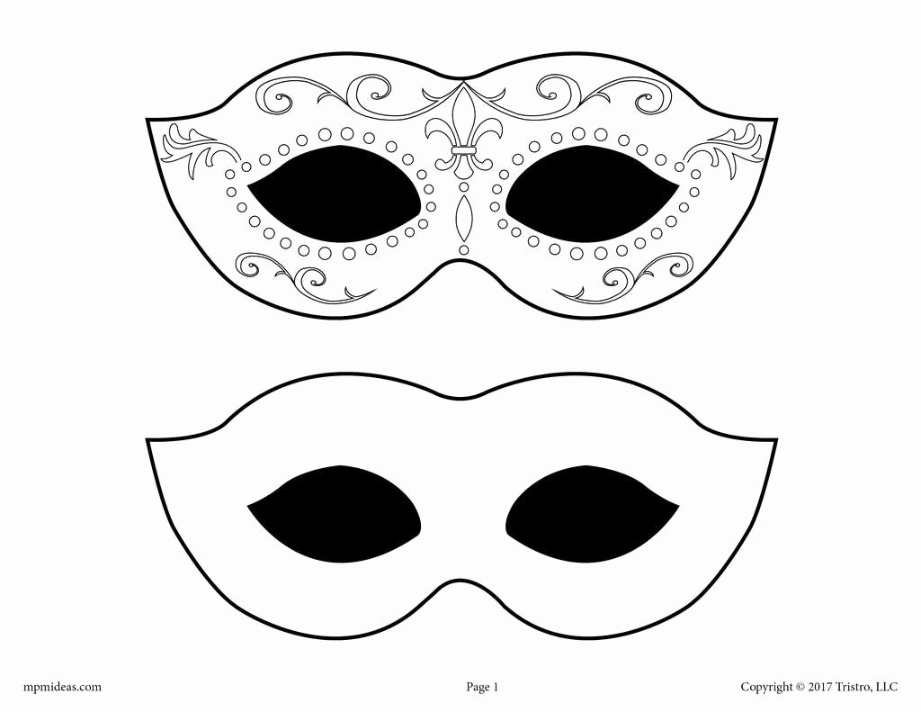 Masquerade Mask Template Printable Beautiful Free Printable Mardi Gras Mask Template – Supplyme