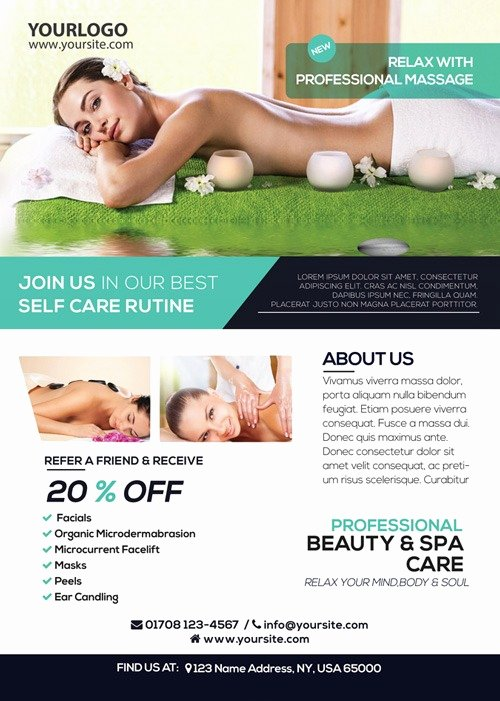 Massage Flyer Template Free Awesome Massage and Health Free Psd Flyer Template Download Spa