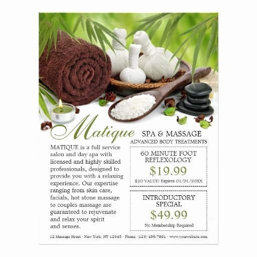 Massage Flyer Template Free Elegant 89 Best Images About Spa and Salon Flyers Brochures
