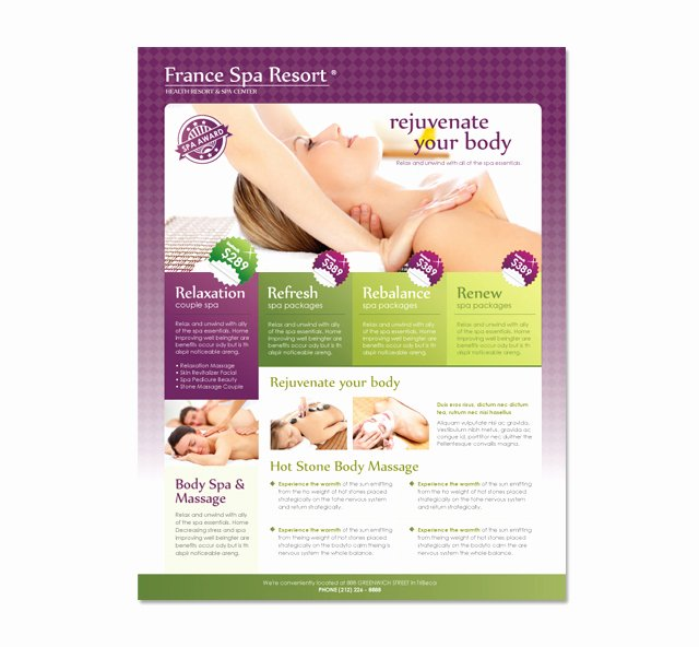 Massage Flyer Template Free New Beauty Spa & Massage Resort Flyer Template