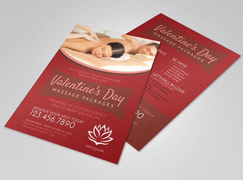 Massage Flyer Template Free Unique Valentine S Day Massage Packages Flyer Template
