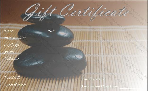 Massage Gift Certificate Template Elegant Zen Rocks Gift Certificate Template