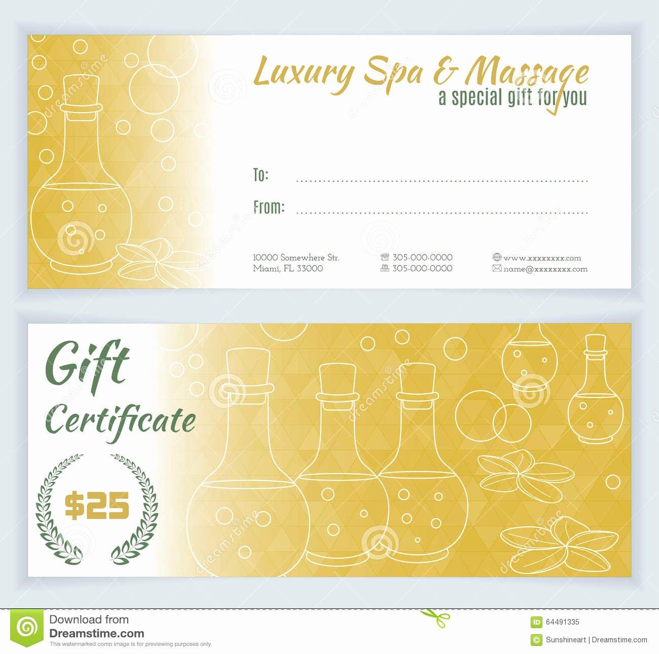 Massage Gift Certificate Template Inspirational Spa Massage Gift Certificate Template Stock Illustration