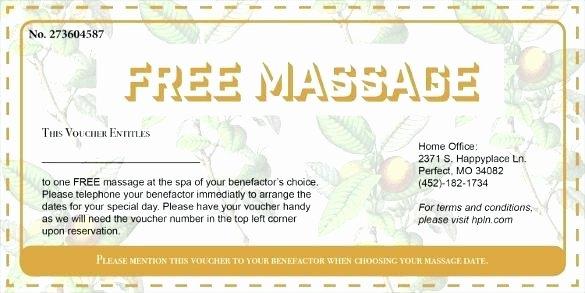 Massage Gift Certificate Template Lovely Free Massage Gift Voucher Template