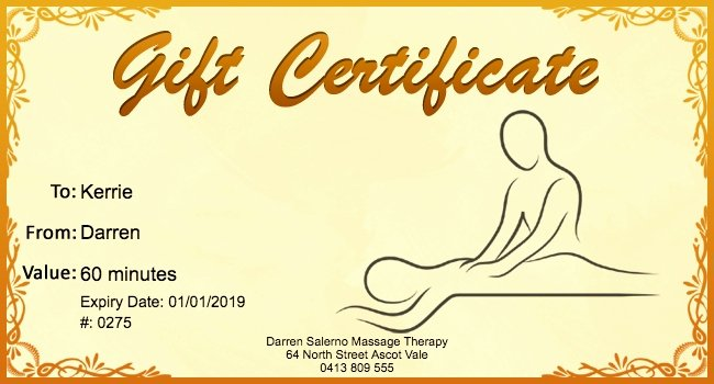 Massage Gift Certificate Template Lovely Massage Gift Certificate Template Free Massage Gift