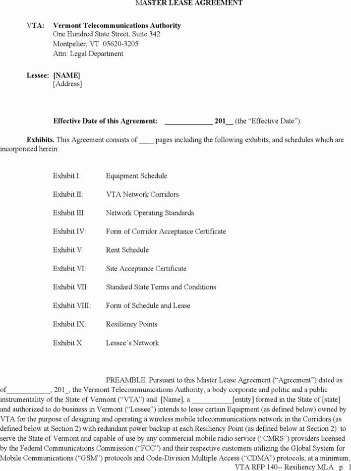 Master Lease Agreement Template Awesome Download Vermont Master Lease Agreement form for Free