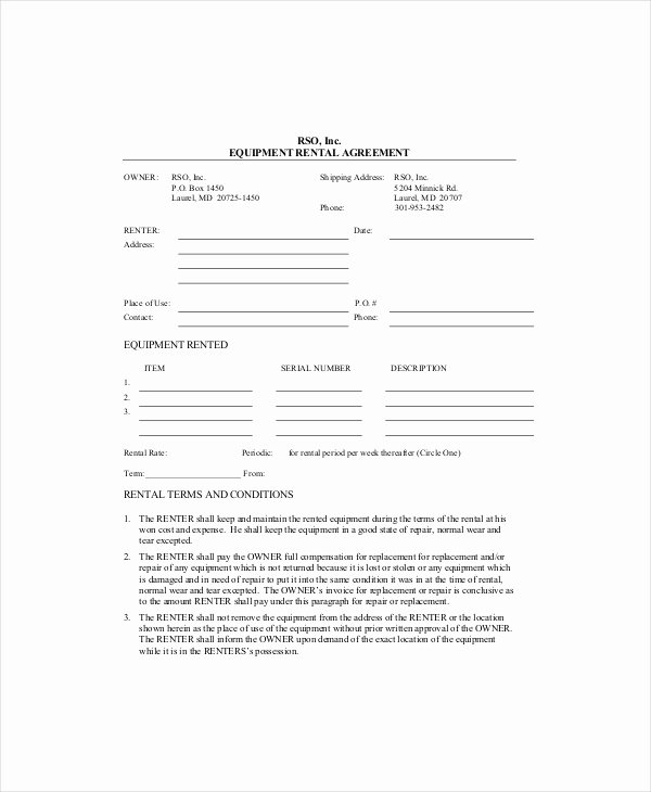 Master Lease Agreement Template Awesome Equipment Lease Template 10 Free Word Pdf Google
