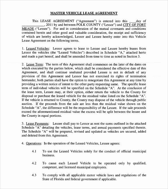 Master Lease Agreement Template Awesome Sample Vehicle Lease Agreement Template 12 Free