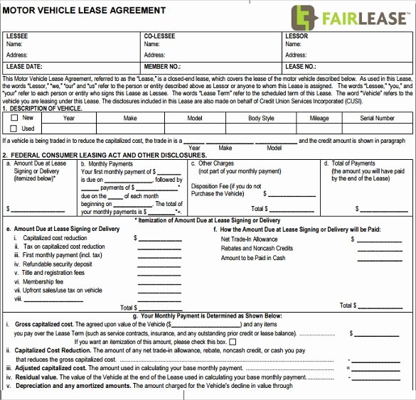 Master Lease Agreement Template Beautiful Sample Vehicle Lease Agreement Template 12 Free