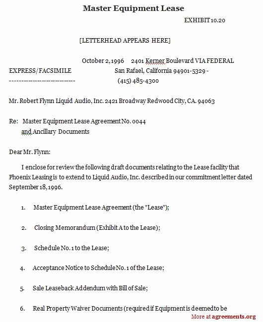 Master Lease Agreement Template Best Of Master Equipment Lease Sample Master Equipment Lease