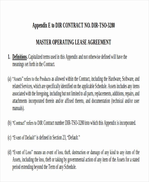 Master Lease Agreement Template Elegant 8 Master Lease Agreement Sample Examples In Word Pdf