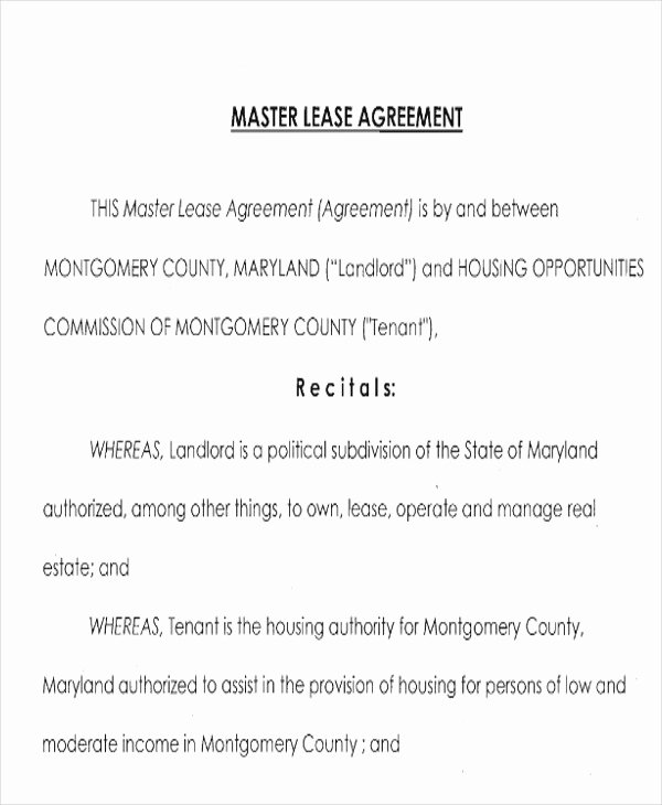 Master Lease Agreement Template Fresh 8 Master Lease Agreement Sample Examples In Word Pdf
