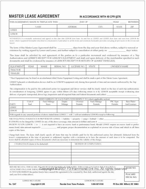 Master Lease Agreement Template Lovely Master Lease Agreement – No 1247