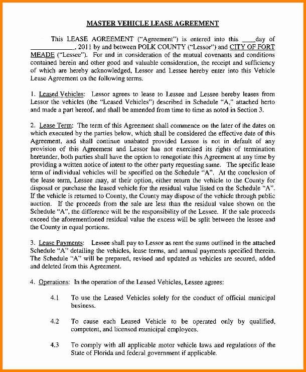 Master Lease Agreement Template Unique 16 Car Leasing Agreement