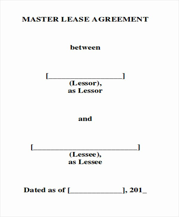 Master Lease Agreement Template Unique 8 Master Lease Agreement Sample Examples In Word Pdf