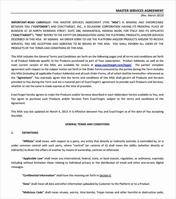 Master Service Agreement Template Awesome Business Service Agreement Template 10 Free Documents