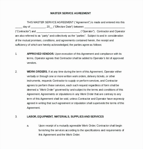 Master Service Agreement Template Awesome Free Service Contract Template Lovely Simple Master