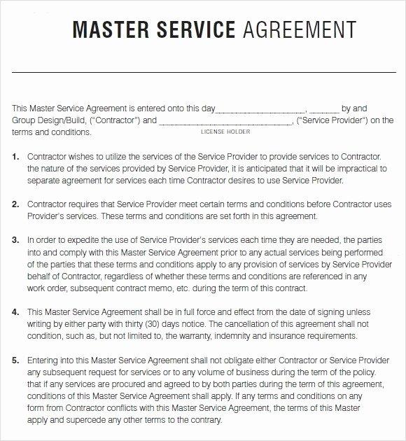 Master Service Agreement Template Beautiful Master Service Agreement Template