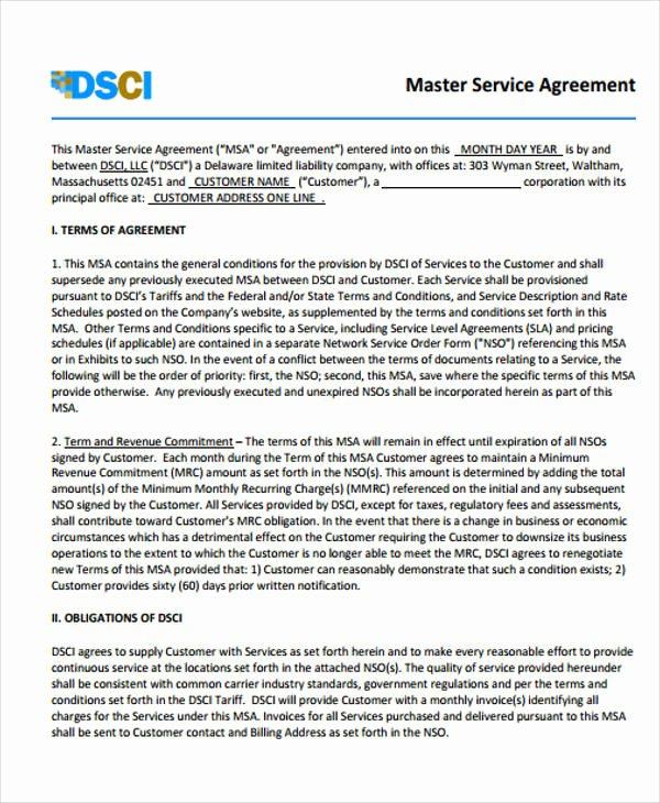 Master Service Agreement Template Elegant 40 Free Sample Agreements