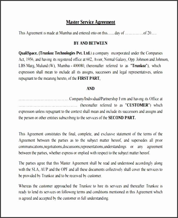 Master Service Agreement Template Elegant 9 Master Service Agreement Template Sampletemplatess