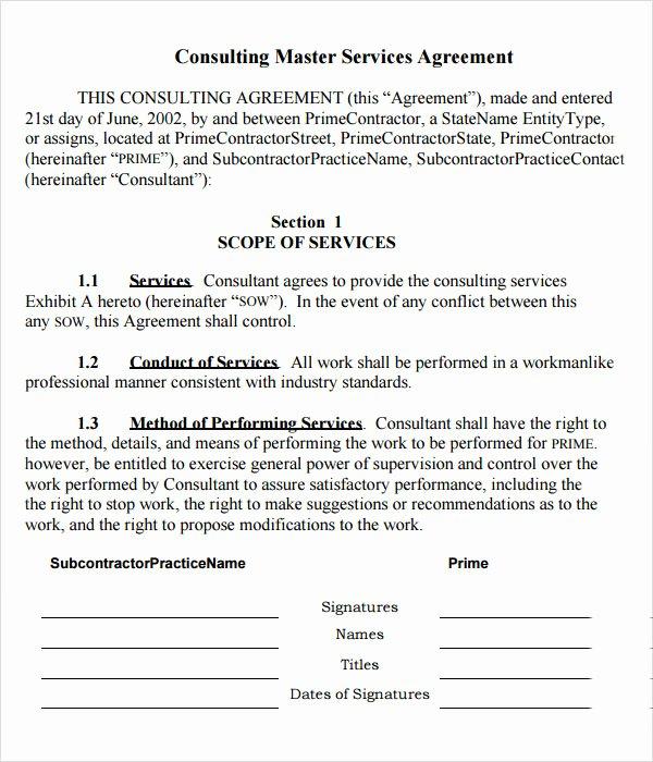 Master Service Agreement Template Fresh 15 Sample Master Service Agreement Templates