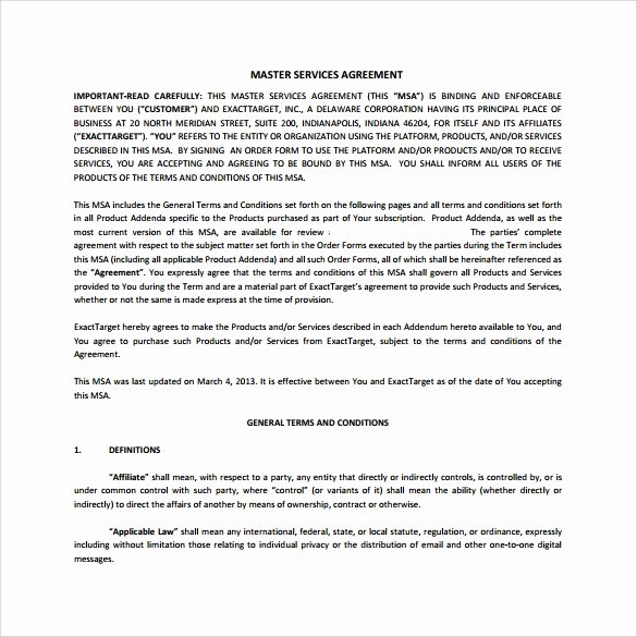 Master Service Agreement Template Inspirational 15 Sample Master Service Agreement Templates