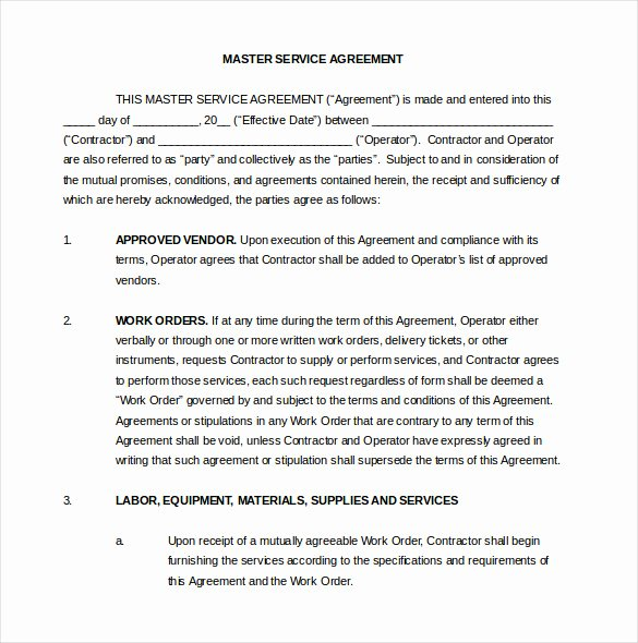 Master Service Agreement Template Inspirational 22 Contract Agreement Templates – Word Pdf Pages