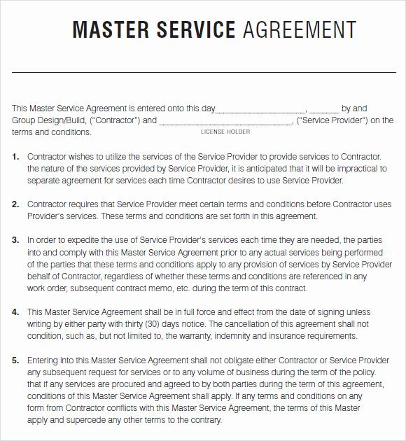 Master Service Agreement Template Inspirational Master Service Agreement Template