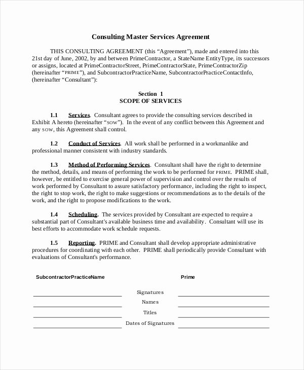 Master Service Agreement Template Luxury Sample Consulting Agreement form 9 Free Documents In