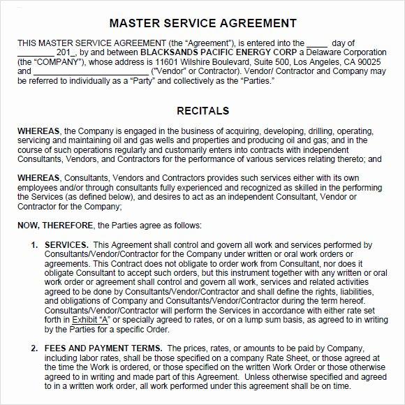 Master Service Agreement Template Unique 9 Sample Master Service Agreements