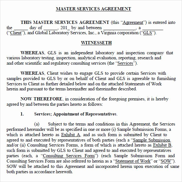 Master Services Agreement Template Awesome 9 Sample Master Service Agreements