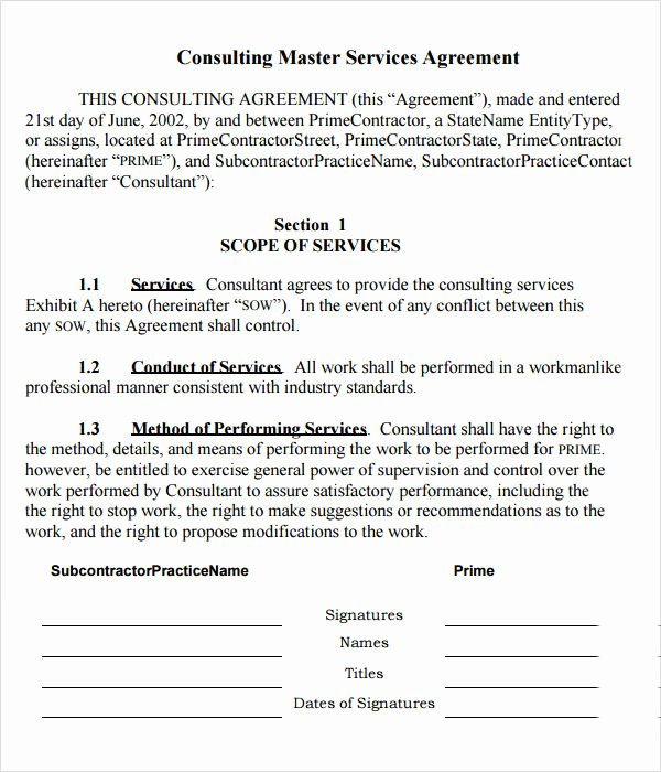 Master Services Agreement Template Elegant 15 Sample Master Service Agreement Templates