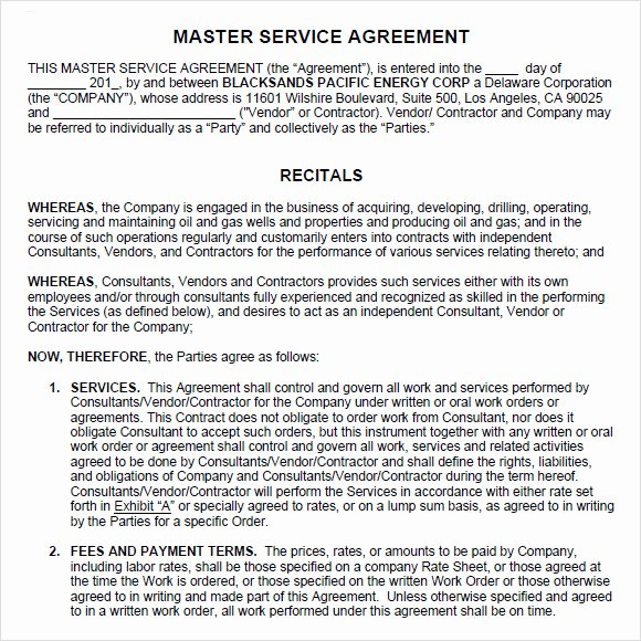 Master Services Agreement Template Fresh 9 Sample Master Service Agreements