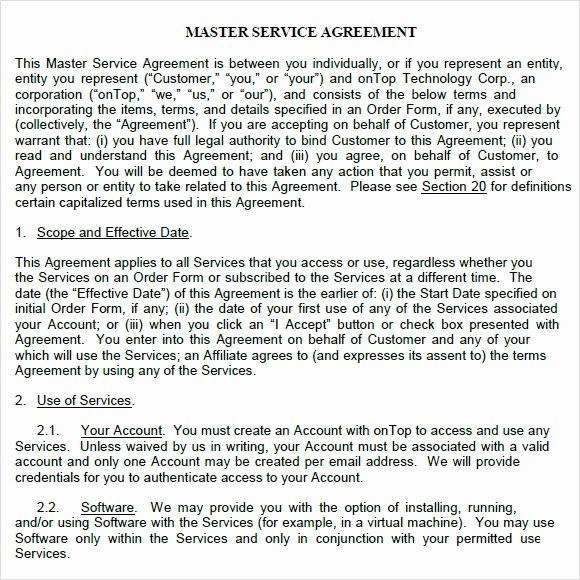 Master Services Agreement Template Luxury 9 Sample Master Service Agreements