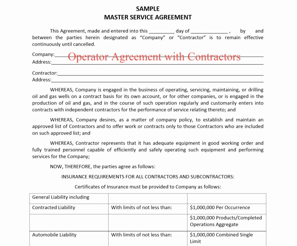 Master Services Agreement Template Luxury Our Blog Oil and Gas Insurance