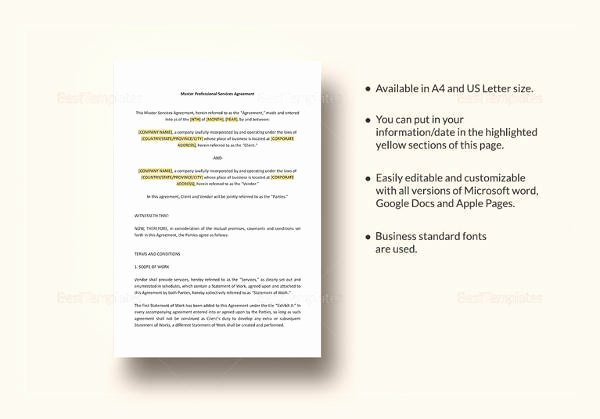 Master Services Agreement Template New Sample Vendor Agreement 25 Examples In Word Pdf